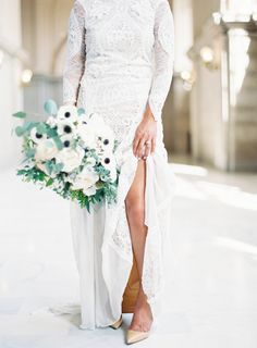 Obsession-worthy crochet lace wedding dress: http://www.stylemepretty.com/california-weddings/san-francisco/2016/07/01/all-the-reason-to-get-married-at-city-hall/ | Photography: Esmeralda Franco - http://esmeraldafranco.com/