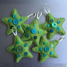 Filz Sterne mit Deko aus Knöpfen Mehr