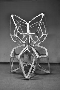 """Juxtapoz Magazine - """"The Fragile Beasts"""" Paper Sculpture Abstract Sculpture, Sculpture Art, Sculptures Céramiques, Digital Fabrication, Modelos 3d, 3d Texture, Elements Of Design, 3d Prints, Shape And Form"""