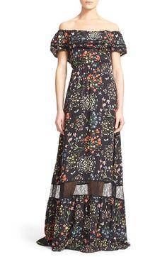 Alice + Olivia 'Cheri' Floral Print Off the Shoulder Maxi Dress
