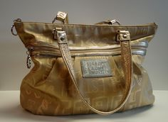 Coach Poppy Tote in Gold...Just Beautiful.  At Ms. Mulligan's Consignment Boutique