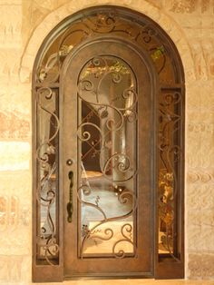 Image detail for -Rod iron glass door_Single Arch Doors Sidelight Transome_Wrought iron ...nice for French country home