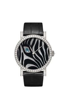 One-of-a-kind DeLaneau Rondo Zebra's Eye automatic watch captures a zebra face in close-up on a Grand Feu enamel dial, set with a single navette-cut blue sapphire and diamonds.