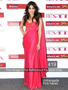 Chitrangada Singh Georgette Red Plain Bollywood Designer Saree - 419