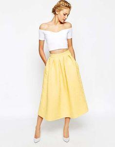 Closet Full Prom Midi Skater Skirt In Jacquard $99 #skaterskirt #jdorefashion
