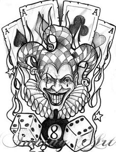 Clowns can be bizarre, enigmatic, scary, joyous and even tattoos! See photos and meanings! Jester Tattoo, Clown Tattoo, Skull Tattoos, Body Art Tattoos, Poker Tattoos, Joker Drawings, Creepy Drawings, Art Drawings Sketches, Tattoo Sketches