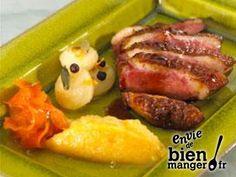 Magrets de canard aux épices, purée de navets glacés Jus D'orange, Tuna, Steak, French Toast, Beef, Fish, Chicken, Cooking, Breakfast
