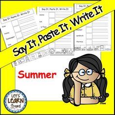 Summer Activities, Cut and Paste,Say It,Paste It,Write It, Writing Activities