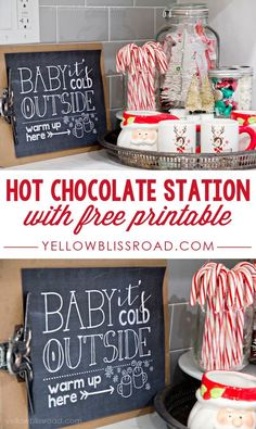 Free Printable Hot Chocolate Station (Maybe I should hit up the thrift stores fo… - Noel - christmas Decoration Christmas, Noel Christmas, Little Christmas, Xmas Decorations, Christmas And New Year, Winter Christmas, All Things Christmas, Christmas Crafts, Christmas Decor For Kitchen