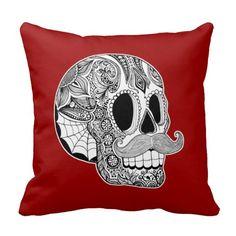 Customizable Mustache Sugar Skull Throw Pillow