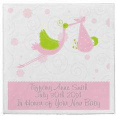 Pink Stork Girl Baby Shower Party Napkins #BabyShower #PartyNapkins  http://zazzle.com/JustCards
