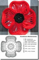 Crochet Poppy - Very pretty elongated crochets & single crochet edges. Link show only the flower & chart. Crochet Poppy - Very pretty elongated crochets & single crochet edges. Link show only the flower & chart. Crochet Diy, Poppy Crochet, Diy Crochet Flowers, Crochet Unique, Knitted Flowers, Crochet Flower Patterns, Love Crochet, Irish Crochet, Single Crochet
