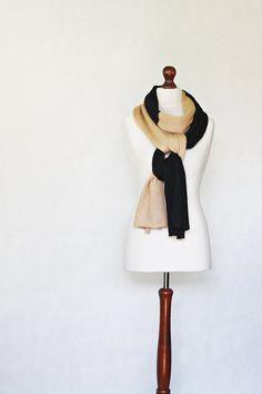 Beige shawl knit scarf knit shawl black scarf by KnitwearFactory, $45.00