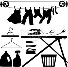 laundry basket siluet pictures | Laundry Silhouettes - Illustration