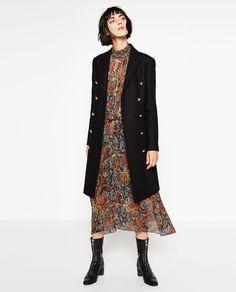 Image 1 of LONG CROSSOVER COAT from Zara