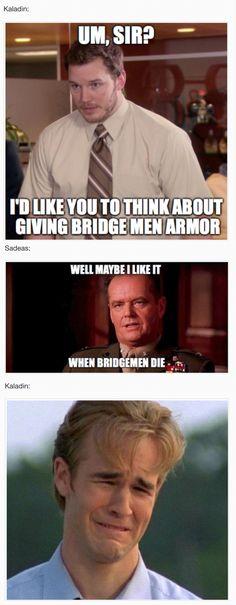 Sadeas vs. Kaladin, bridgemen meme