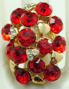 Red Rhinestone Oval Ring/Gold/Gift For Her/Holiday/Christmas