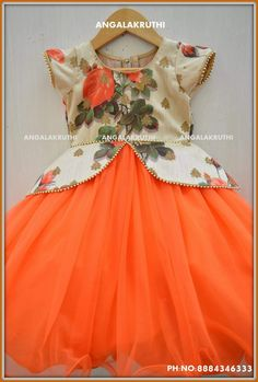 Angalakruthi-Custom designer boutique in Bangalore We. Girls Frock Design, Kids Frocks Design, Baby Dress Design, Frocks For Girls, Dresses Kids Girl, Kids Outfits, Baby Dresses, Kids Dress Wear, Kids Gown