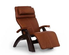New Perfect Chair Human Touch Classic Manual Plus Series 2 Dark Walnut Wood Base Zero-Gravity Recliner - Cognac Premium Leather online - Topfurniturestore Glider Recliner, Recliner Chairs, Rubber Tree, Walnut Wood, Dark Walnut, Massage Chair, Gliders, Foot Rest, Back Pain