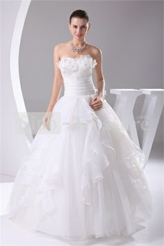 White Ball Gown Natural Waist Soft Sweetheart A-line Woth Satin Wedding Dress 001