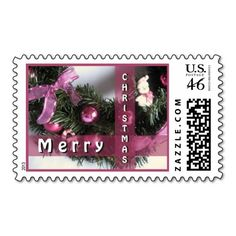 """Seasonal Wreath Decoration. Unique, trendy, chic and stylish Christmas greetings mail postage. With cute and fun image of Christmas wreath with violet purple bauble ornaments and ribbons, and """"Merry Christmas"""" text. Original, elegant and classy stamps to personalize your December holiday mail wishes with."""