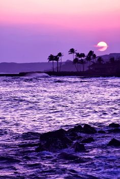 Image Reasons Why Hawaii Is One of The Most Spectacular and Peaceful Places on Earth Beautiful sunset.Going Places Going Places or Goin' Places may refer to: Purple Love, All Things Purple, Shades Of Purple, Purple Sunset, Purple Beach, Pink Purple, Lilac, Purple Stuff, Purple Hues