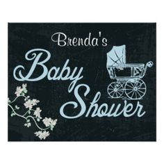 Chalkboard, Vintage Custom Baby Shower Poster