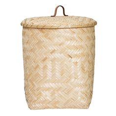 Natural Bamboo Basket With Lid ($98) ❤ liked on Polyvore featuring home, home decor, small item storage, newspaper basket, bloomingville, weaved baskets, newspaper woven basket and lidded basket