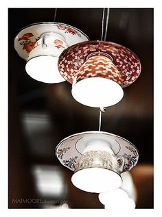 super cute cups/saucer as lights trash-to-treasure