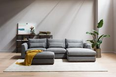 Shaped by a contemporary outline of oversized arms and backrest, the Alfie chaise sectional sofa offers customizable and comfortable seating configurations for your family and friends. Living Room Sectional, Home Living Room, Sectional Sofa, Buy Sofa, Bedroom Carpet, Luxurious Bedrooms, Dining Room Furniture, Sofa Design, Interior Design Living Room