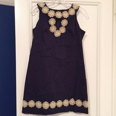 Spotted while shopping on Poshmark: Lily Pulitzer navy and champagne metallic dress! #poshmark #fashion #shopping #style #Lilly Pulitzer #Dresses & Skirts