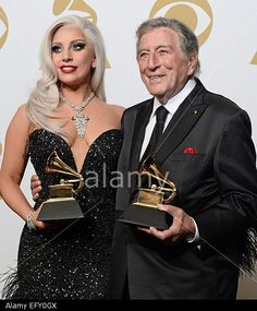 Lady Gaga (L) and Tony Bennett (R) hold the awards for 'Best Traditional Pop Vocal Album' awards at the 57th annual Grammy Awards held at the Staples Center in Los Angeles, California, USA, 08 February 2015.  © epa european pressphoto agency b.v. / Alamy