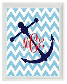 Anchor Art Print Red Navy Blue Chevron Nautical Nursery