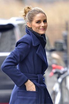 Olivia Palermo in Blue wool coat out in New York City - January 2017