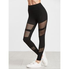 SheIn(sheinside) Black Fishnet Insert Leggings ($13) ❤ liked on Polyvore featuring pants, leggings, stretchy pants, legging pants, stretchy leggings, stretch pants and stretch leggings