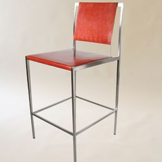 ARTEMIS BAR STOOL  Materials: Solid Stainless Steel frame and Saddle Leather Dimensions: 17W x 19D x 44H