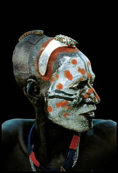 A dancer from the Karo tribe in the Omo Valley, Ethiopia; at a ceremony of courtship (Beckwith / Fisher)