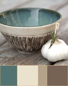 Soft teal, beige, cream color palette