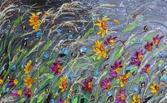SOLD: Field of Dreams, #Impasto, #Pallet Knife, floral paintings, impasto flowers, Original Acrylic by Barbara Scharpf Commissioned Work for client