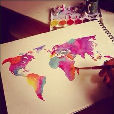 Watercolor map of the world