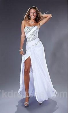 Long White Natural Strapless Chiffon Prom Dress ykdress3921