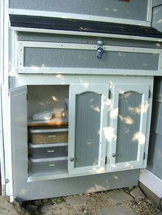 Storage cabinet on chicken coop.