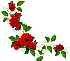 Decorative Element with Red Roses White Flowers and Hearts with Diamonds