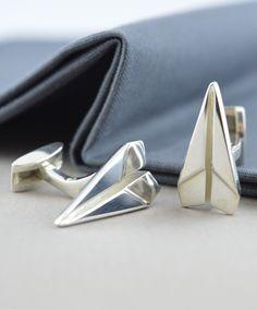 Loving this Sterling Silver Paper Plane Cufflinks on #zulily! #zulilyfinds