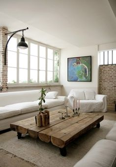 Love the wood coffee table. WOOD  WHITE.