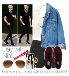 """""""Day with Niall."""" by welove1 ❤ liked on Polyvore featuring memento, Topshop, H&M, Vans, Ray-Ban and Lime Crime"""