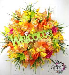 Deco Mesh Wreath Spring Summer Orange Yellow Lime Green Welcome Sign Door Wreath by www.southerncharmwreaths.com #decomesh #wreath
