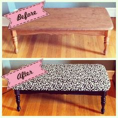 Upcycled coffee table turned into a bench DIY