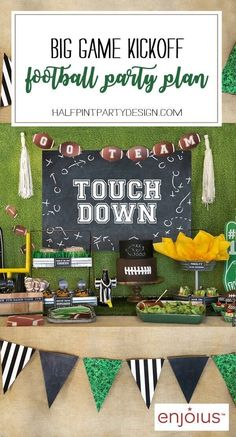Ready for the BIG GAME? This Football party plan is now available on Enjoius. Recreate this food buffet with simple set up instructions, printables, and everything you need for the perfect super bowl party! Designed by Halfpint Design. Birthday Games For Kids, Ball Birthday Parties, Tea Parties, Super Bowl Party, Football Party Decorations, Birthday Party Decorations, Kids Football Parties, Football Party Favors, Football Gift