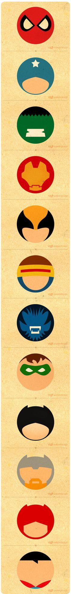 Super Heróis - Minimalismo by Waio , via Behance